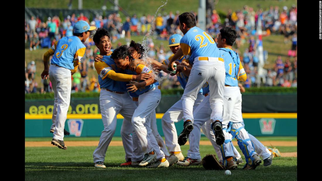 A Little League baseball team from Honolulu celebrates after winning the Little League World Series on Sunday, August 26. The Hawaiian team went 5-0 in the tournament, including a 3-0 victory in the final over a team from Seoul, South Korea. Hawaiian teams also won the tournament in 2005 and 2008.
