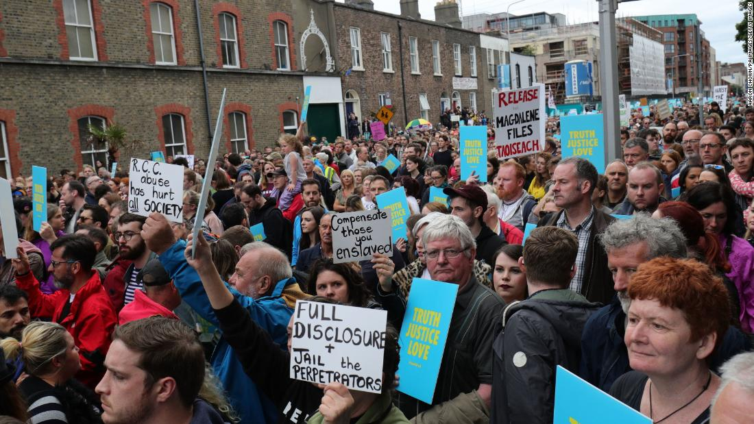 The Stand4Truth rally gathers outside a former Magdalene Laundry in Dublin as part of demonstrations against clerical abuse.