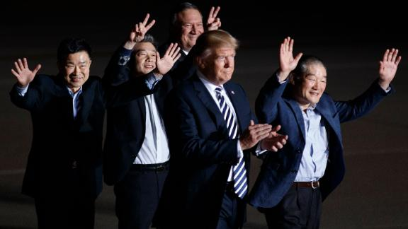 """Three Americans<a href=""""https://www.cnn.com/2018/05/10/politics/trump-north-korea-freed-americans/index.html"""" target=""""_blank""""> released by North Korea</a> are welcomed at Andrews Air Force Base in Maryland by Trump and Secretary of State Mike Pompeo in May 2018. Kim Dong Chul, Kim Hak-song and Kim Sang Duk, also known as Tony Kim, were freed while <a href=""""https://www.cnn.com/2018/05/09/politics/mike-pompeo-north-korea-prisoners-tick-tock/index.html"""" target=""""_blank"""">Pompeo was visiting North Korea</a> to discuss Trump's upcoming summit with North Korean leader Kim Jong Un."""