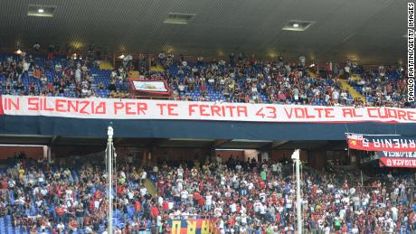 Banners showing solidarity for the bridge collapse victims adorned the Luigi Ferraris stadium in Genoa.