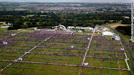 An aerial view of the crowd at Phoenix Park as Pope Francis attends the closing Mass at the World Meeting of Families in Dublin.