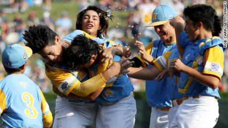 Hawaii celebrates a victory in the 2018 Little League World Series in South Williamsport, Pennsylvania.