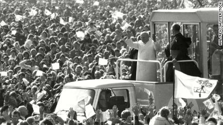 Pope John Paul II greets crowds at Phoenix Park in 1979. Aerial photos of the event were not available.