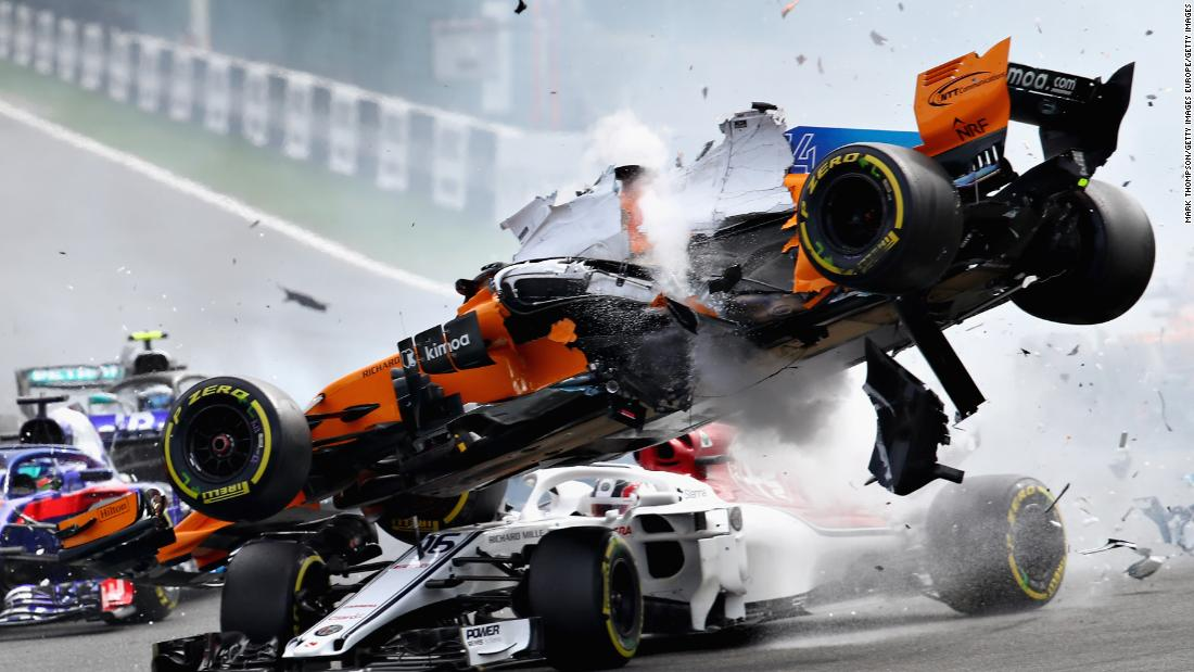 "Fernando Alonso's spectacular crash at Sunday's Belgian Grand Prix reignited the debate around driver safety, specifically the new ""halo."" Built around the cockpit to protect drivers from debris, it appeared to come to the rescue of Charles Leclerc as Alonso's airborne car bounced off it and over him."