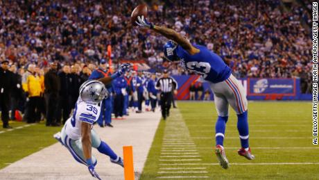 Beckham has turned heads with his stunning catches, including this one where he scored a touchdown against the Dallas Cowboys at MetLife Stadium on November 23, 2014 in East Rutherford, New Jersey.