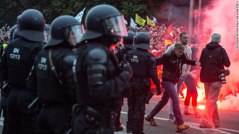 German media accused police of being unprepared for Monday's protests.