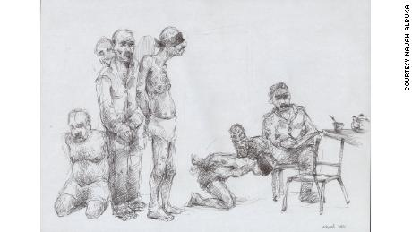 An illustration by ex-prisoner and illustrator Najah al-Bukai depicts his memories
