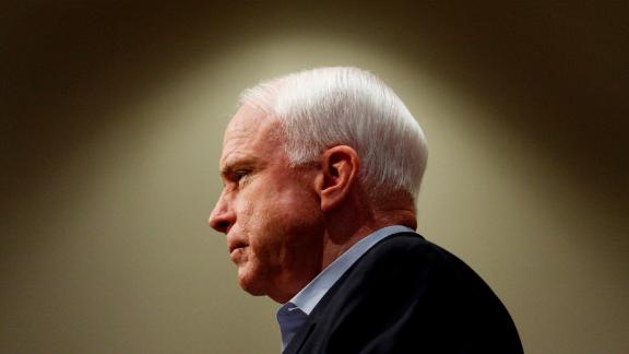 SUN CITY, AZ  - AUGUST 25:  U.S. Sen. John McCain (R-AZ) listens to a question from a person in the audience during a health care a town hall meeting at Grace Bible Church August 25, 2009 in Sun City, Arizona. Several hundred people attended the event to express their thoughts about the health care reform.  (Photo by Joshua Lott/Getty Images)