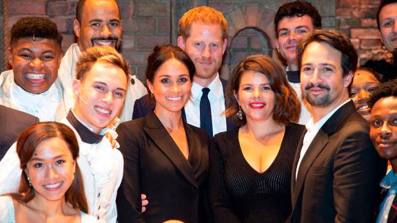 The Duke and Duchess of Sussex, Vanessa Nadal and Lin-Manuel Miranda meet the cast and crew.