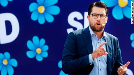 Jimmie Akesson is leader of the anti-immigration Sweden Democrats, a party that's surged in popularity.