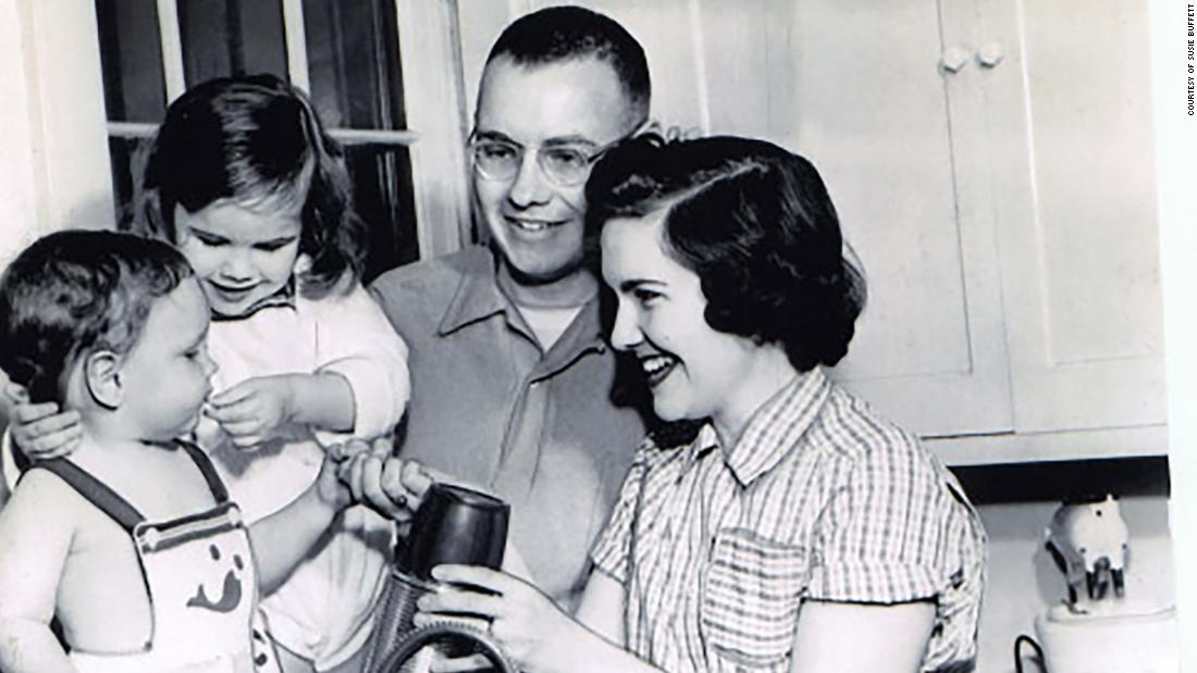 Buffett married his first wife, Susan, in 1952. They had three children together: Peter, Howard and Susan. The latter two are seen here with their parents.