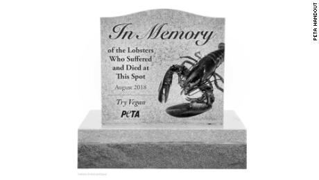 PETA envisiones a memorial that's 5 feet tall that would sit along the roadway where the lobsters died.
