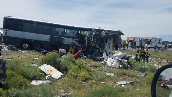 The front of the Greyhound bus was severely damaged during the crash.