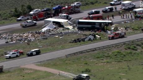 Semi-truck crashes into Greyhound bus