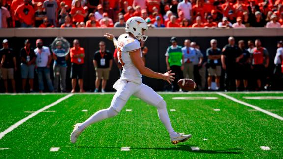 STILLWATER, OK - OCTOBER 1 : Punter Michael Dickson #13 of the Texas Longhorns kicks during the game against the Oklahoma State Cowboys October 1, 2016 at Boone Pickens Stadium in Stillwater, Oklahoma. The Cowboys defeated the Longhorns 49-31.  (Photo by Brett Deering/Getty Images)