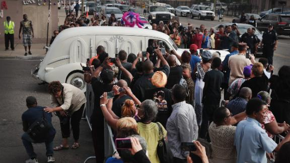 Franklin's body is driven away from the New Bethel Baptist Church after a final public viewing in Detroit on Thursday. The church was once led by her father, the Rev. C.L. Franklin.
