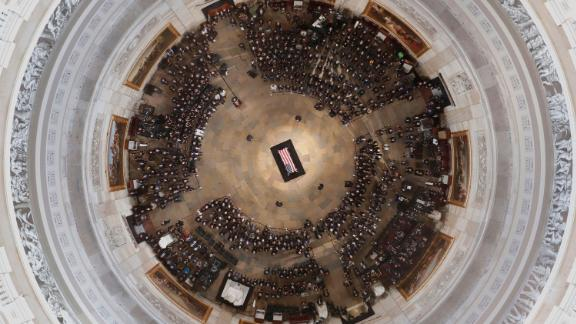 The casket of US Sen. John McCain lies in state at the US Capitol on Friday, August 31.