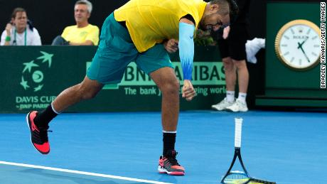 Kyrgios loses his temper as he smashes his racket during the Davis Cup World Group First Round.