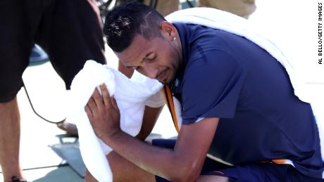 Nick Kyrgios of Australia takes a break during his men's singles second round match against Pierre-Hugues Herbert on Day Four of the 2018 US Open.