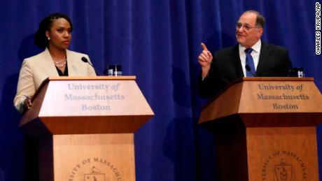 Incumbent Democratic congressman Michael Capuano, right, and primary challenger Ayanna Pressley during a debate at the University of Massachusetts, in Boston, Tuesday, Aug. 7, 2018. (AP Photo/Charles Krupa)