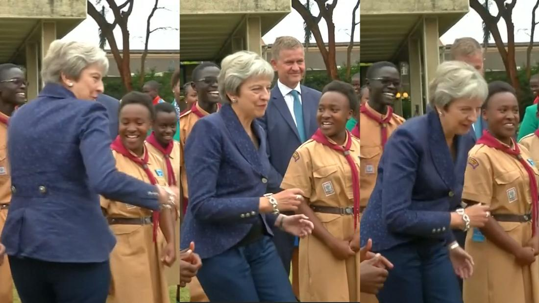 Theresa May lets loose and dances - CNN Video
