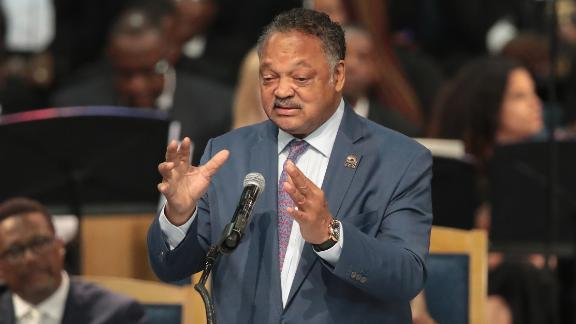Rev. Jesse Jackson speaks at the funeral for Aretha Franklin at the Greater Grace Temple on August 31, 2018, in Detroit, Michigan. Franklin died at the age of 76 at her home in Detroit on August 16.  (Photo by Scott Olson/Getty Images)
