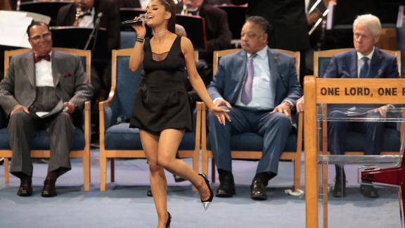 DETROIT, MI - AUGUST 31:  Singer Ariana Grande performs at the funeral for Aretha Franklin at the Greater Grace Temple on August 31, 2018 in Detroit, Michigan. Franklin died at the age of 76 at her home in Detroit on August 16.  (Photo by Scott Olson/Getty Images)