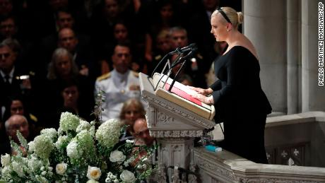 Meghan McCain speaks at a memorial services for her father Sen. John McCain, R-Ariz., at Washington Nationals Cathedral in Washington, Saturday, Sept. 1, 2018. McCain died Aug. 25, from brain cancer at age 81. (AP Photo/Pablo Martinez Monsivais)