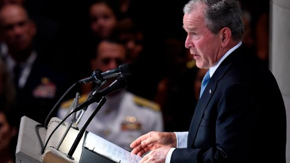 Former US President George W. Bush speaks during the memorial service.