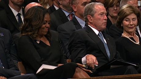 Watch Moment Between Bush Michelle Obama Cnn Video