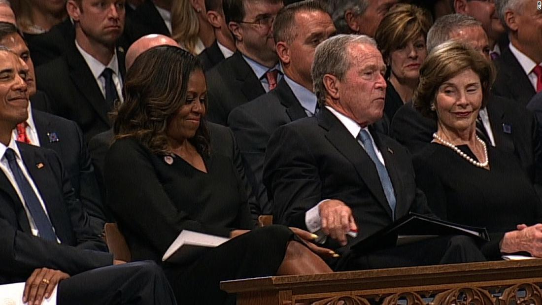 Watch moment between Bush, Michelle Obama