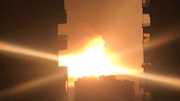 Syrian state media citing an unnamed military source is denying that an airbase near Damascus was hit by Israeli airstrikes overnight Saturday, saying instead that a series of explosions were caused instead by an electrical fault at an ammunitions depot in the area.