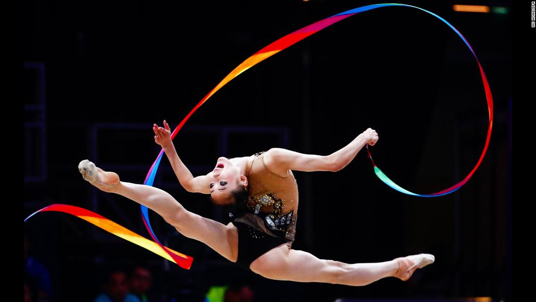 North Korea's Ri Un-yong performs during the individual ribbon final of the rhythmic gymnastics events at the Asian Games in Jakarta, Indonesia, on Tuesday, August 28.