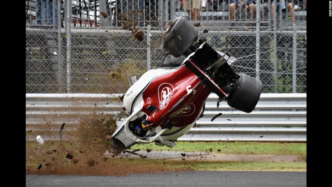 Marcus Ericsson of Sweden crashes during practice for the Formula One Grand Prix of Italy on Friday, August 31.