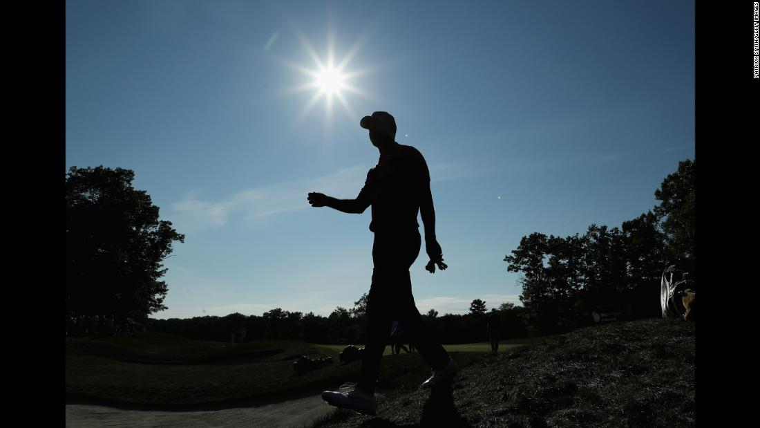 Tiger Woods walks to the 14th tee box during round two of the Dell Technologies Championship on Saturday, September 1.