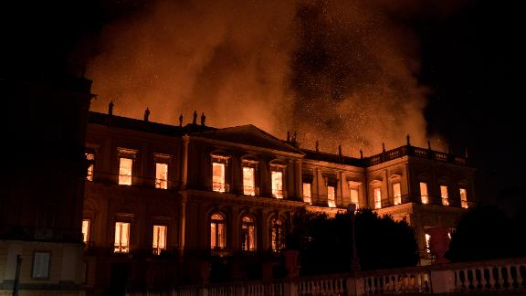 Flames engulf the 200-year-old National Museum of Brazil in Rio de Janeiro.