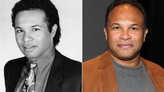 Geoffrey Owens on the Cosby Show and Owens in 2012  THE COSBY SHOW -- Season 7 -- Pictured: Geoffrey Owens as Elvin Tibideaux  (Photo by Alan Singer/NBC/NBCU Photo Bank via Getty Images)  NEW YORK, NY - AUGUST 07:  Geoffrey Owens attends the press launch for FringeNYC 2012 at the New School for Drama on August 7, 2012 in New York City.  (Photo by Robin Marchant/Getty Images)
