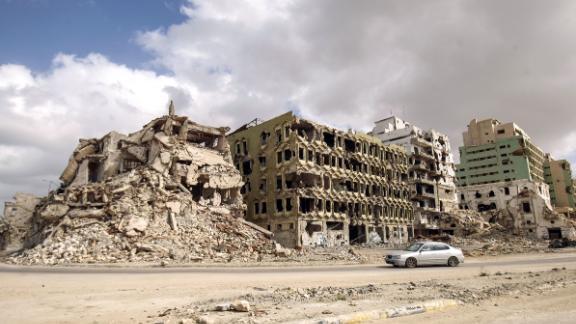 The seaside promenade of Libya's eastern city of Benghazi lies in ruins seven years after the Arab Spring.