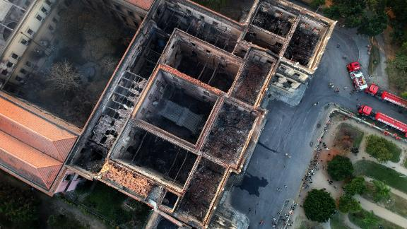 An aerial view of Rio de Janeiro's treasured National Museum a day after a massive fire ripped through the building.