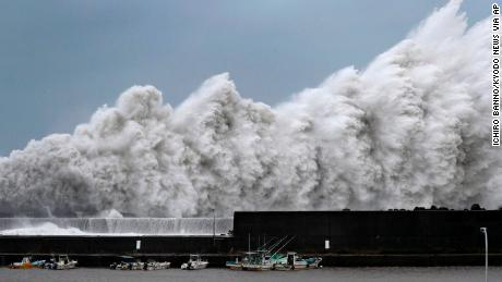 High waves hit breakwaters at a port in Aki, Kochi prefecture, in western Japan.