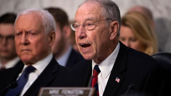 Senate Judiciary Committee Chairman Chuck Grassley, R-Iowa, joined at left by Sen. Orrin Hatch, R-Utah, speaks during the confirmation hearing of President Donald Trump