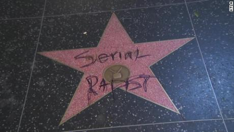 Someone defaced Bill Cosby's star in Hollywood on Monday night.