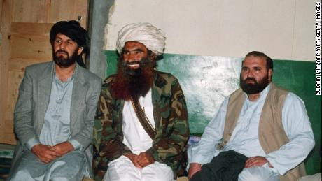 A picture dated 02 April 1991 shows Afghan commander Jalaluddin Haqqani (center) at his Pakistani base in Miram Shah with Amin Wardak and Abdul Haq, two top guerilla commanders.