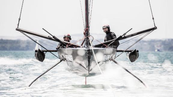Britain's Ineos Team UK has been trialing a scaled-down foiling monohull.