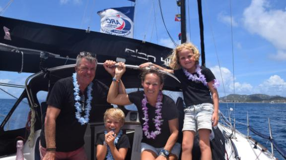 The Wennberg family celebrate as they cross the finish line of the World ARC in St. Lucia, in the Eastern Caribbean.