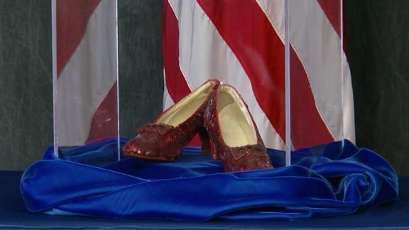 Law enforcement showed off the recovered shoes on Tuesday,
