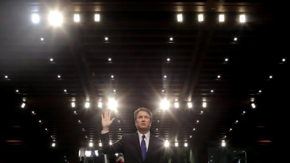 Supreme Court nominee Judge Brett Kavanaugh is sworn in before the Senate Judiciary Committee during his Supreme Court confirmation hearing in the Hart Senate Office Building on Capitol Hill September 4, 2018 in Washington, DC. Kavanaugh was nominated by President Donald Trump to fill the vacancy on the court left by retiring Associate Justice Anthony Kennedy.