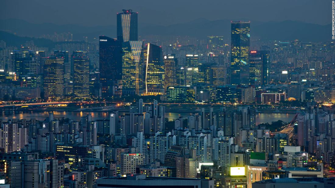 A general view of Seoul at night. Choi was naked at home alone in her apartment when she was filmed through her 22nd floor window.