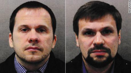 Salisbury attack suspects Alexander Petrov, left, and Ruslan Boshirov, right.