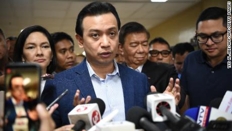 Philippine Senator Antonio Trillanes speaks during a press conference at the Senate in Manila on September 4, 2018.